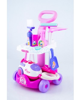 Putzwagen mit Staubsauger PINK Reinigungswagen KP2873 Spielzeug Spiel NEU …