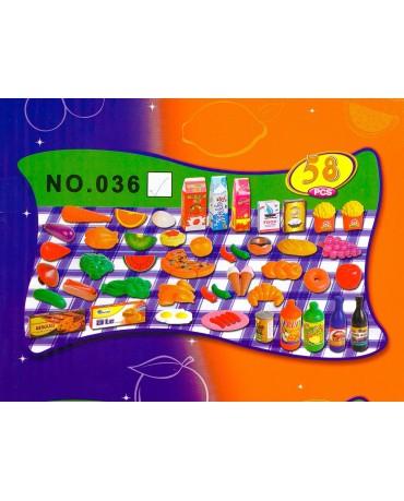 58 tlg Lebensmittel Set für Spielküche KP4872 Neu Obst und Gemüsenetz