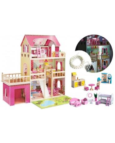 Puppenhaus Barbiehaus Traumhaus Holz  Puppenstube GS0020 Led-Licht Zubehör Set