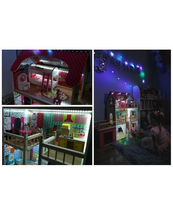 Puppenhaus Barbiehaus Puppenstube Puppenvilla Spielzeughaus Holz mit Möbeln GS0020 Led-Lich