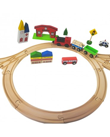 Holzbahn Holzeisenbahn Bahnset GS0012 Holz mit Brücke und Zubehör kompatibel