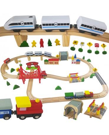 Holzeisenbahn Set Holzbahn Bahnset GS0013 Holz mit Brücke und Zubehör kompatibel