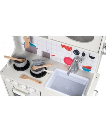Kinderküche Holzküche Kinderspielküche Weiss Holz Spielzeugküche LED GS0052 Neu