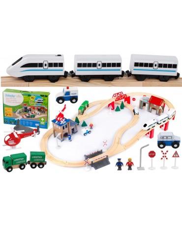 Holzbahn Holzeisenbahn Bahnset mit Brücke Spielzeug und Zubehör GS0010 Holz