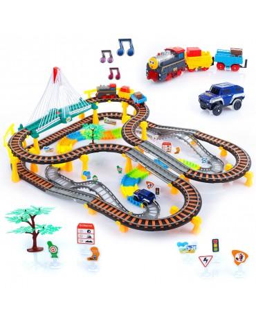 Spielzeugbahn Autorennbahn Autos Lokomotive Zug Spielzeug Video KP0635 Rennbahn