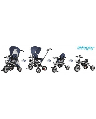 Dreirad Kinderdreirad Kinder Lenkstange KP0566NBLU Fahrrad Kinderwagen Baby Neu