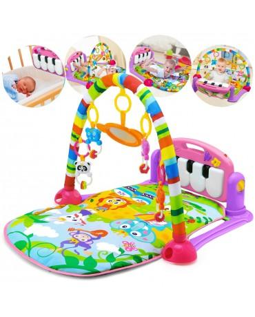 Baby Musikalische Spieldecke 3in1 Musik Spielmatte Klavier Spielbogen KP0604PINK