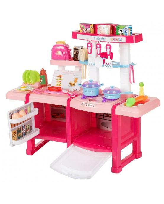 Kinderküche Spielküche Spielzeug Küche KP6030 mit Zubehör Zubehörteile Rosa Neu