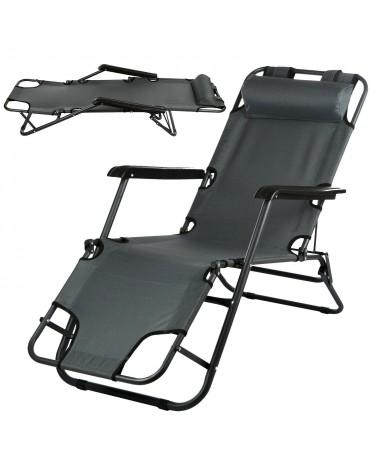 Campela Gartenliege Sonnenliege Strandliege Liegestuhl CA0008GRY Stuhl klappbar